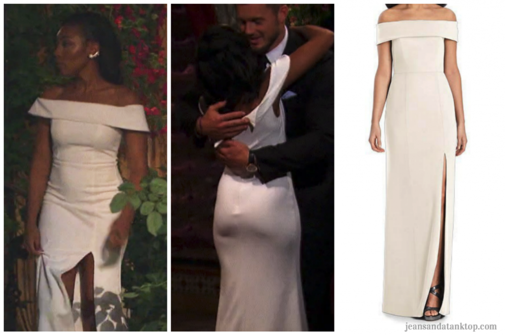 Bachelor Colton Episode 2 Angelique white off shoulder slit