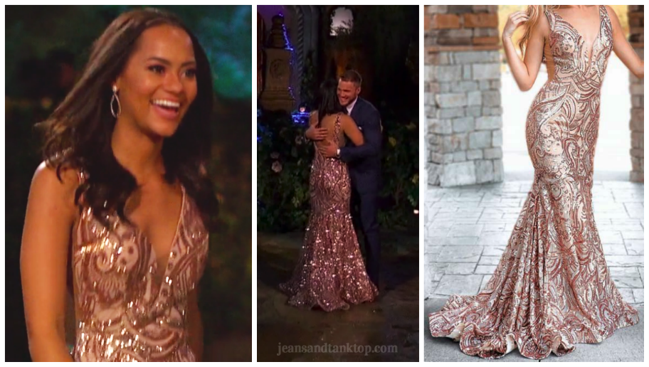 Bachelor Colton Episode 1 Devin rose gold gown