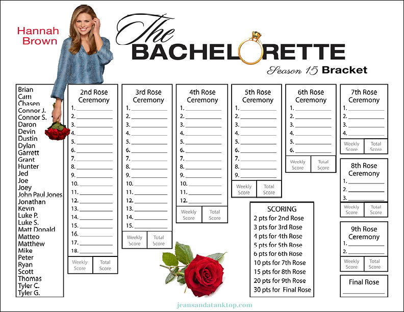 graphic relating to Printable Bachelor Bracket titled Bachelorette Bracket - Period 15 - Hannah Brown - Denims and