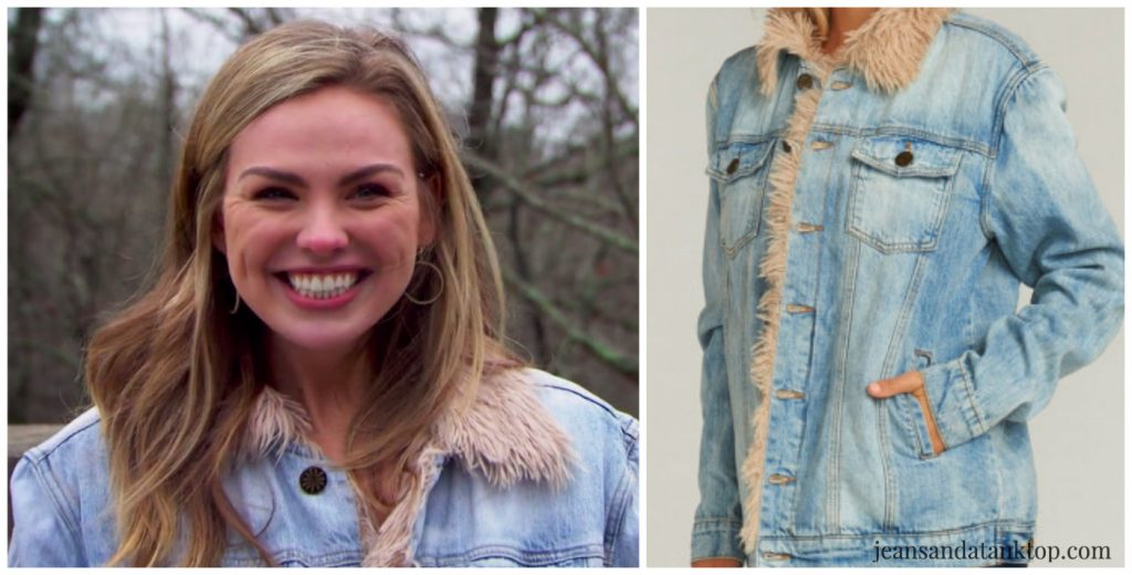 Bachelorette Hannah Episode 1 shearling denim jacket