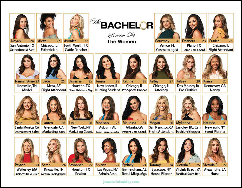 Bachelor Season 24 Women Cheat Sheet